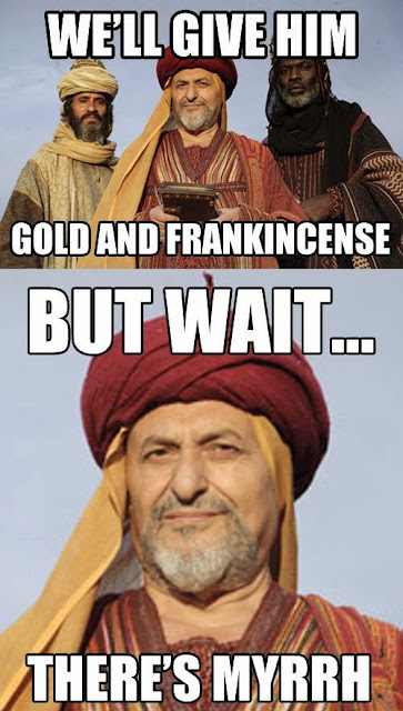 Funny Three Wise Men Jesus Pun - We'll give him gold and Frankincense, but wait... there's myrrh