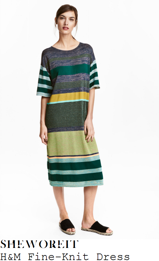 ferne-mccann-h&m-green-and-multicoloured-stripe-print-half-sleeve-knit-midi-dress