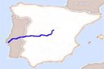 Mapa de localización del río Tajo en la península Ibérica