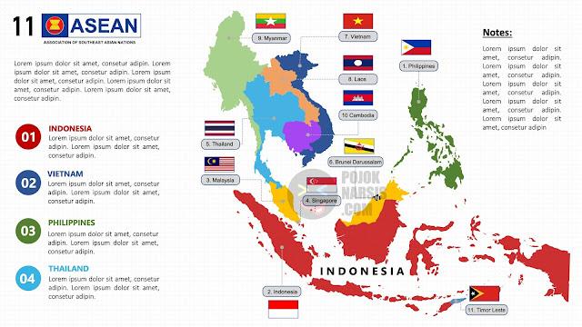 Peta ASEAN 11 Negara Anggota