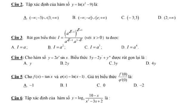 6 đề kiểm tra ôn tập chuyên đề lũy thừa , mũ - logarit