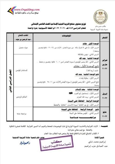 توزيع منهج التربية الدينية للصف الخامس الابتدائي ترم اول 2022