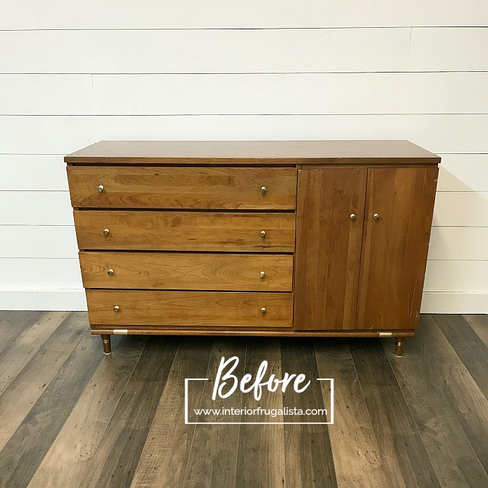 Repurposed Mid Century Cabinet Before