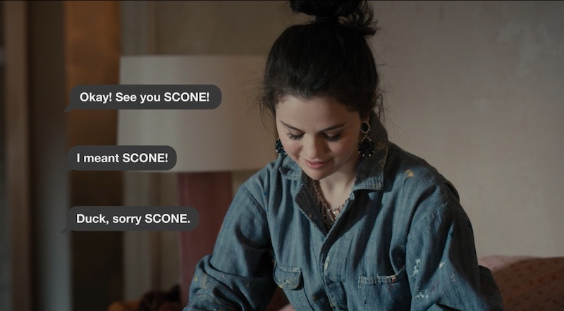 """She reads the reply: """"Okay! See you SCONE! I meant SCONE! Duck, sorry SCONE."""""""
