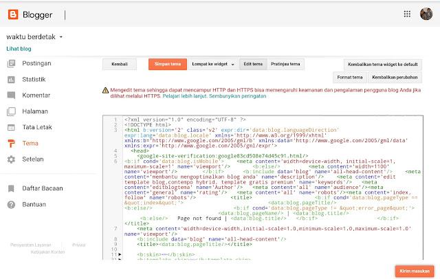 Halaman editor HTML