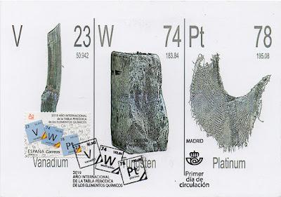 Tarjeta máxima, matasellos, sello, 150 aniversario, Tabla Periódica