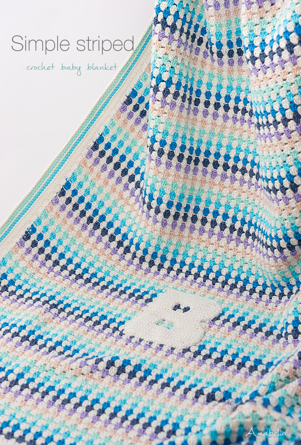 Simple striped crochet baby blanket by Anabelia Craft Design