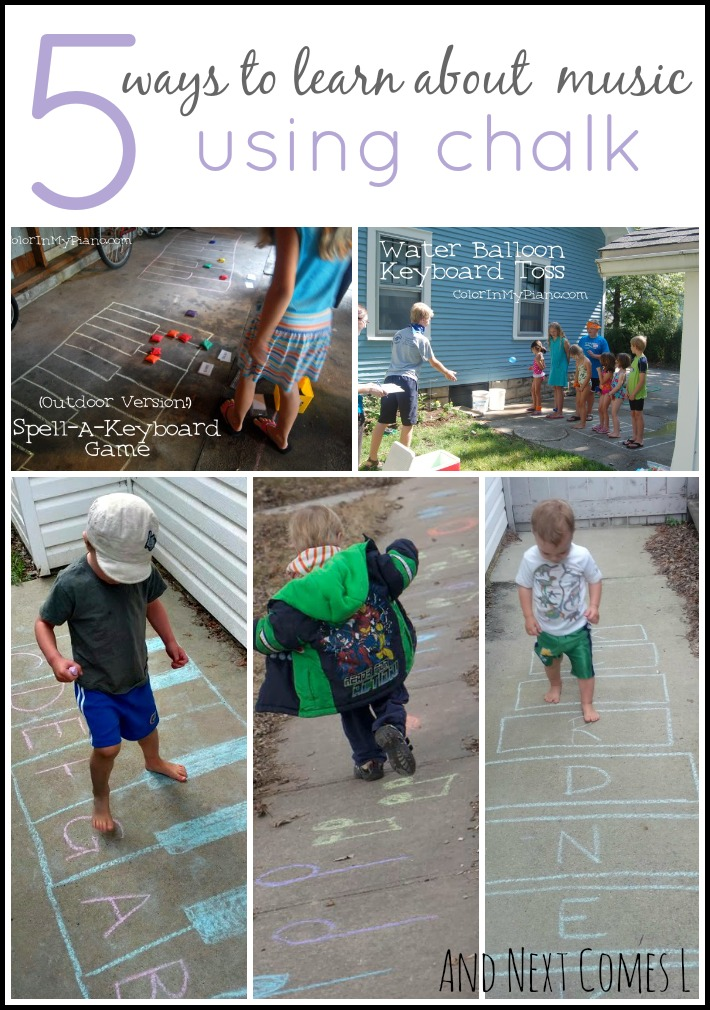 Music theory games for kids using chalk from And Next Comes L