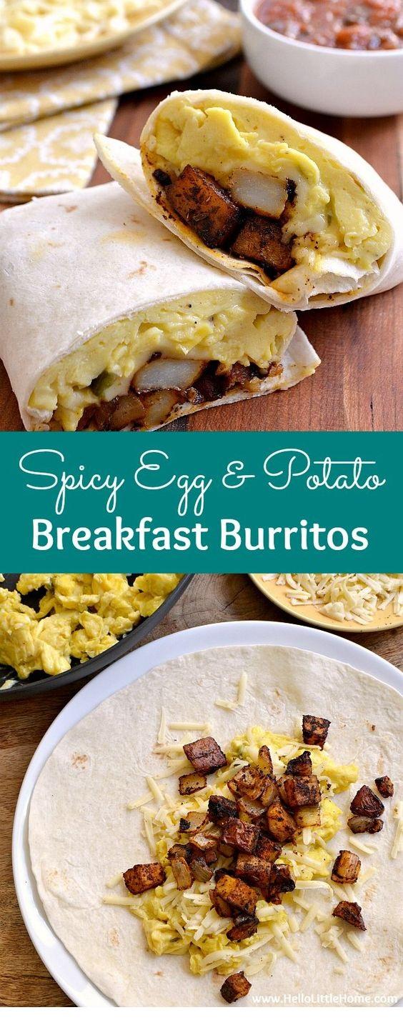Spicy Egg And Potato Breakfast Burritos