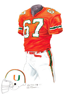 1989 University of Miami Hurricanes football uniform original art for sale