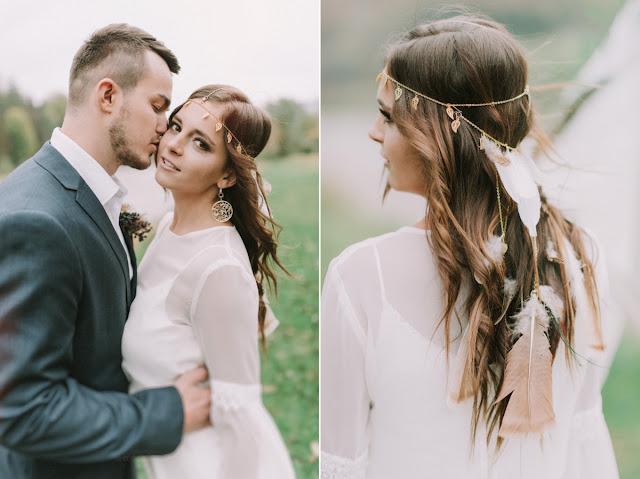Mantika ślubna z listkami i piórkami.