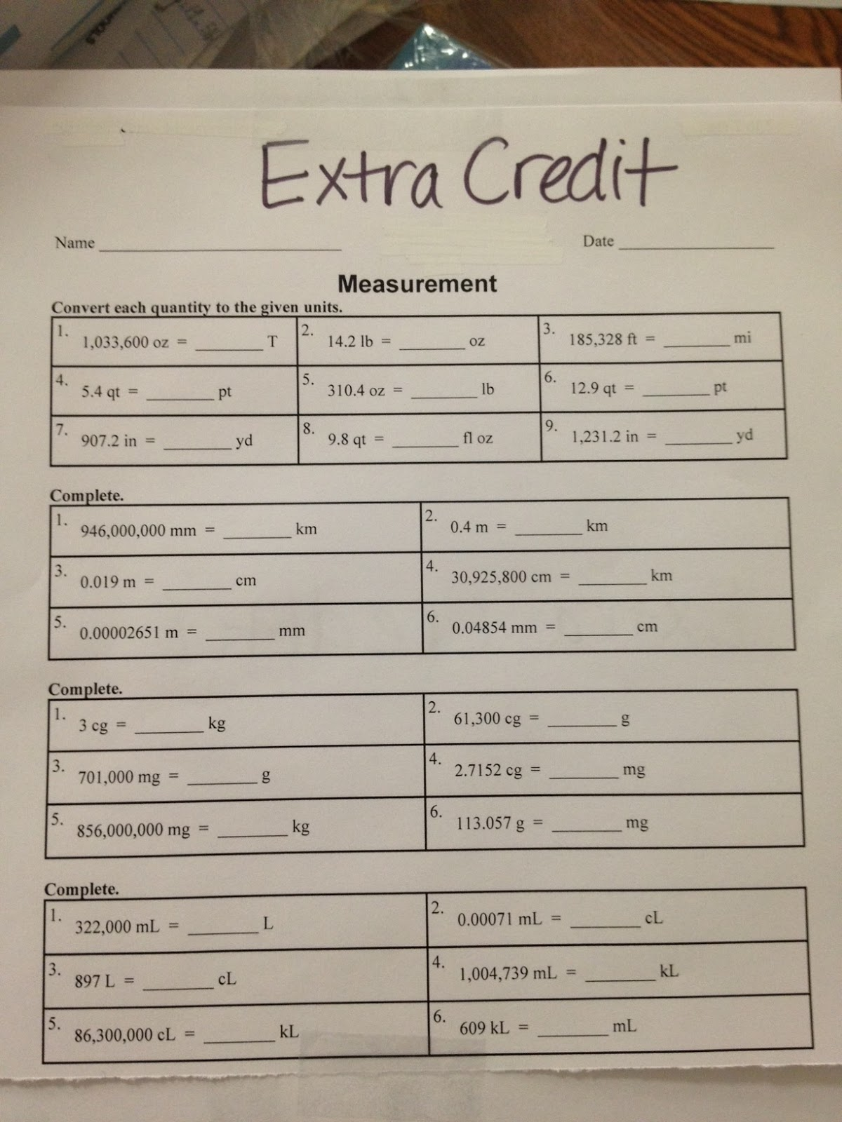 Mrs White S 6th Grade Math Blog Unit Conversions Review Amp Extra Credit