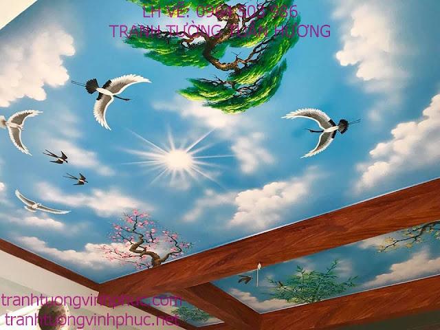 vẽ trần mây 3d tại vĩnh phượng bình xuyên vĩnh phúc1