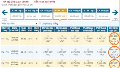 Giá vé máy bay Sài Gòn đi Đà Nẵng hãng Vietnam Airline