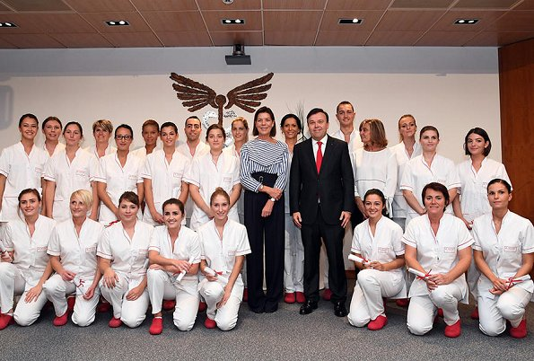 Princess Caroline of Hanover and Didier Gamerdinger presented diplomas to nurses at the Princess Grace Hospital in Monaco
