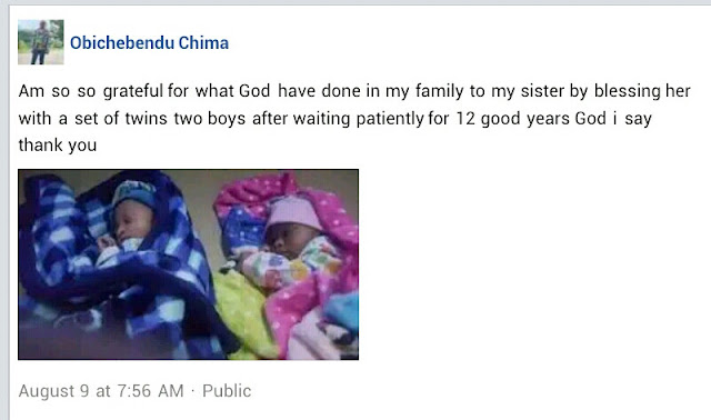Nigerian man rejoices as his sister welcomes Twins after 12 years of waiting (Photos)