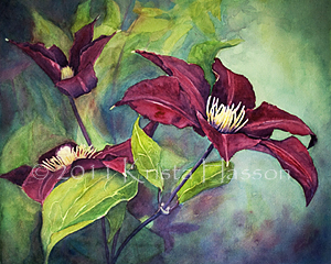 Purple Clematis Flowers – Watercolor Painting Finished