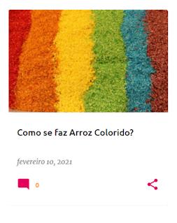 Arroz colorido, disposto pela ordem das cores do arco-íris