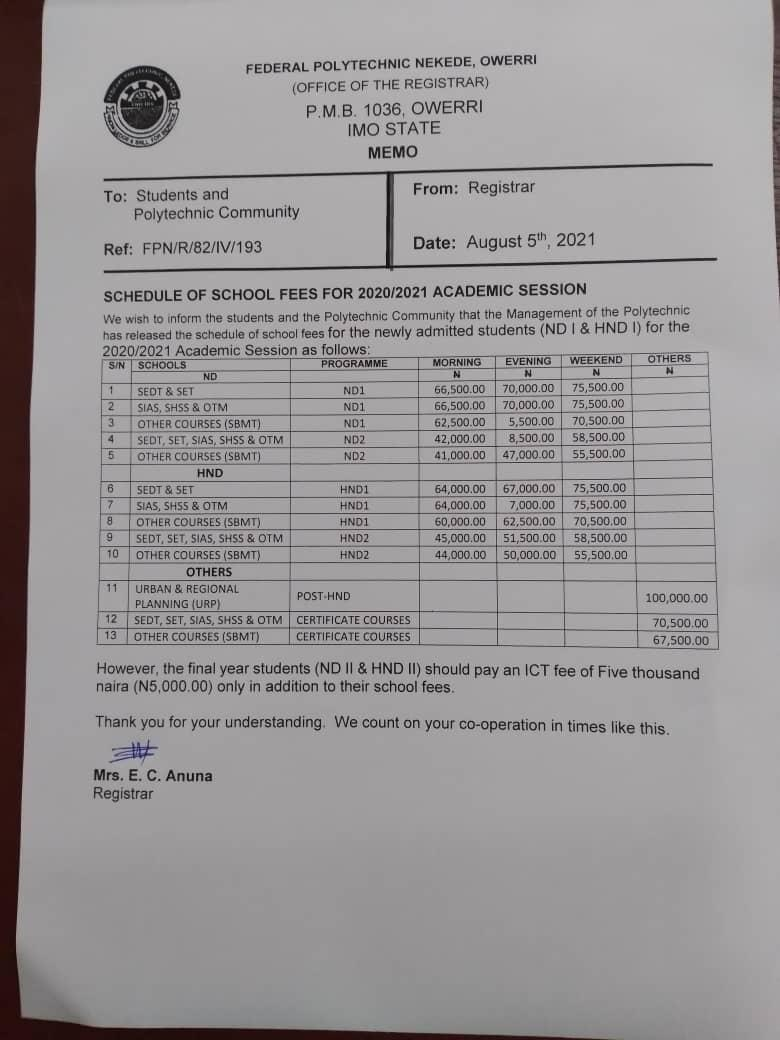 Nekede Poly School Fees Schedule 2020/2021 [ND & HND]