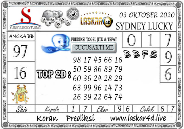 Prediksi Sydney Lucky Today LASKAR4D 03 OKTOBER 2020