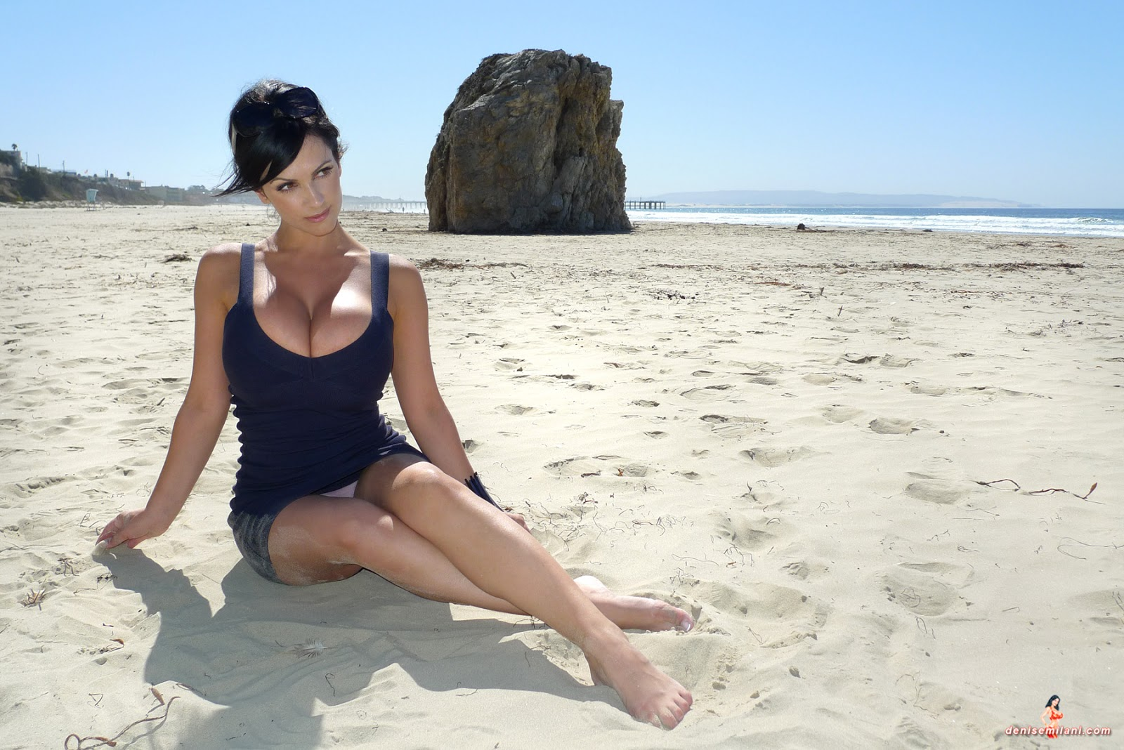 denise milani at the beach nude