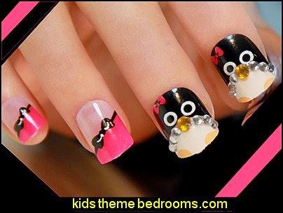 cartoon penguin ladies nails art decoration