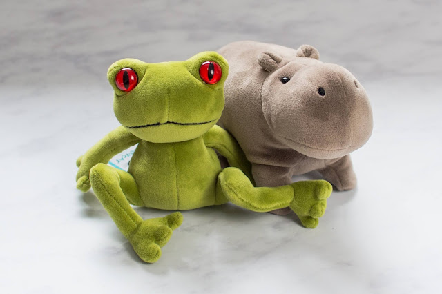 Small green Jellycat frog and small grey jelly cat hippo soft toys