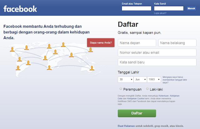 Cara Daftar Facebook secara Cepat Menggunakan Email dan No HP