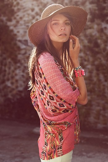 Bohemian Fashion Pink Tunic White Pants Straw Hat Eclectic Style Bracelets and Accessories
