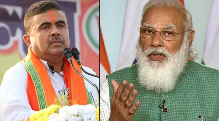 This time Shuvendu Adhikari is going to get a place next to Narendra Modi and Dilip Ghosh