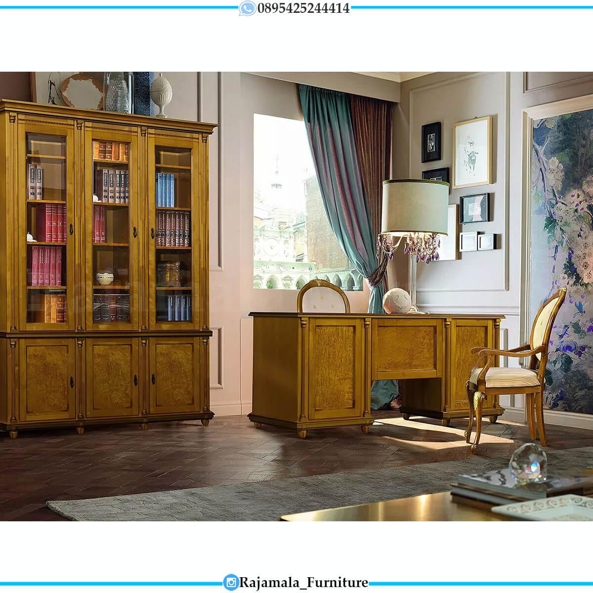Jual Meja Kantor Mewah Jepara Jati Classic Natural Salak Brown RM-0574