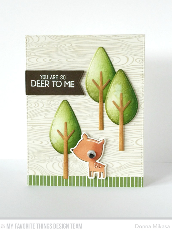 Deer to Me Card by Donna Mikasa featuring the Forest Friends stamp set and Die-namics, and the Tree-mendous, Blueprints 18, and Blueprints 25 Die-namics #mftstamps