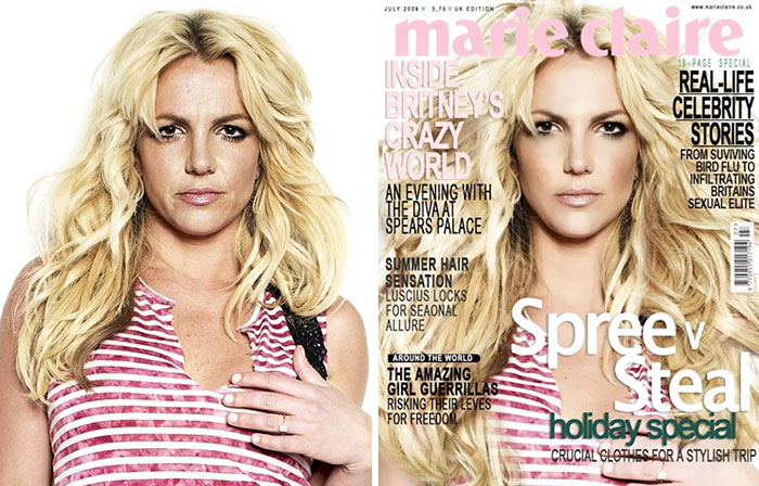 20 Before & After Images Of Celebs Reveal Society's Unrealistic Standards Of Beauty - Britney Spears