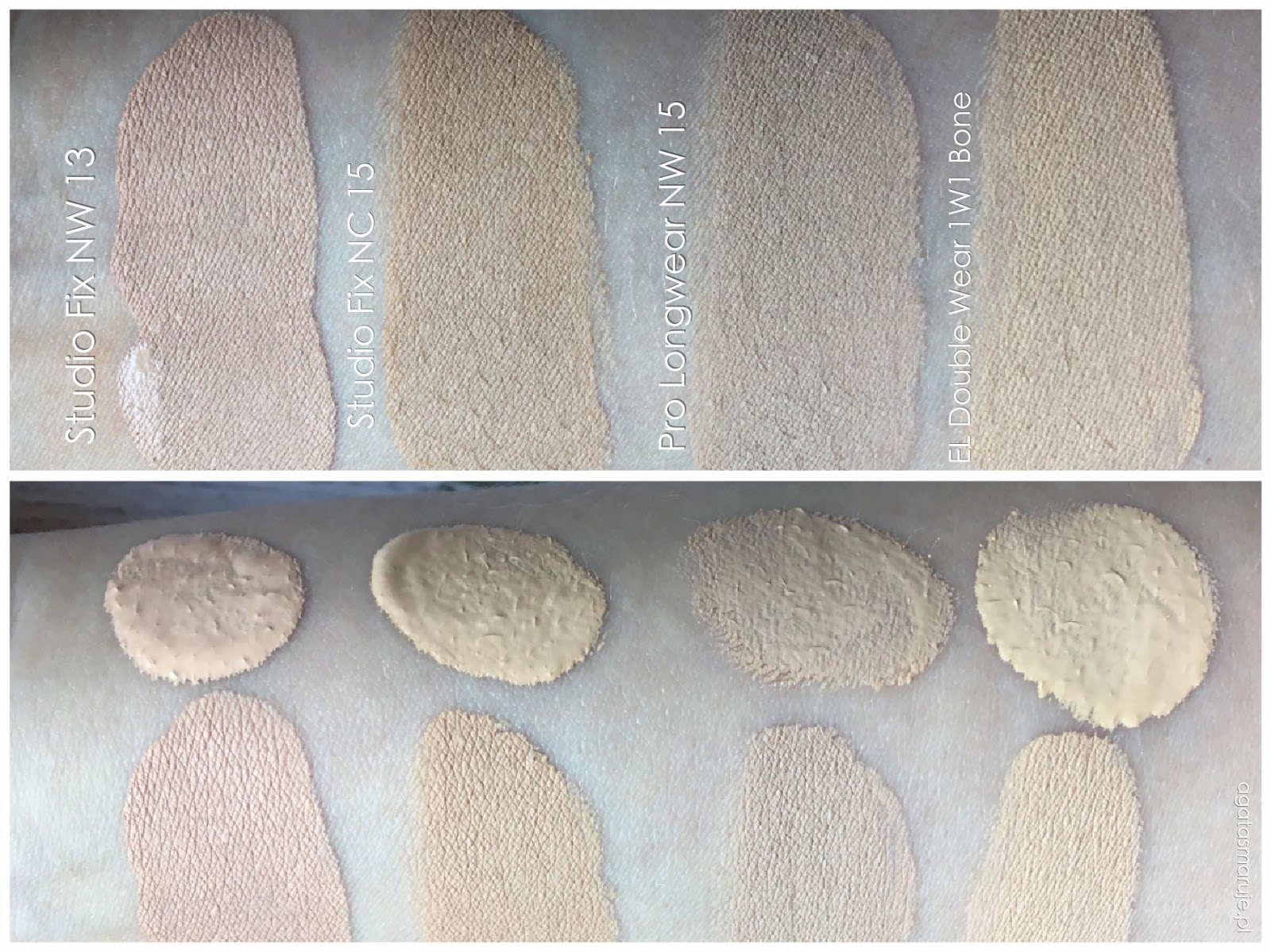 Estee Lauder Double Wear 1W1 Bone swatch