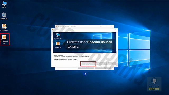 Phoenix OS - Installation completes three options 'restart now' 'remind later' Okay'