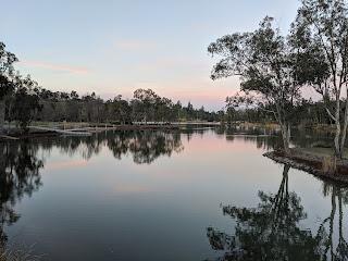 Pink clouds and trees reflected in still water, Vasona Lake at dusk, Los Gatos, California, USA