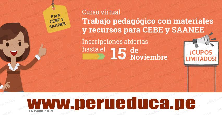 CURSO VIRTUAL: Trabajo pedagógico con materiales y recursos para CEBE y SAANEE (Inscripión hasta el 15 Noviembre) www.perueduca.pe