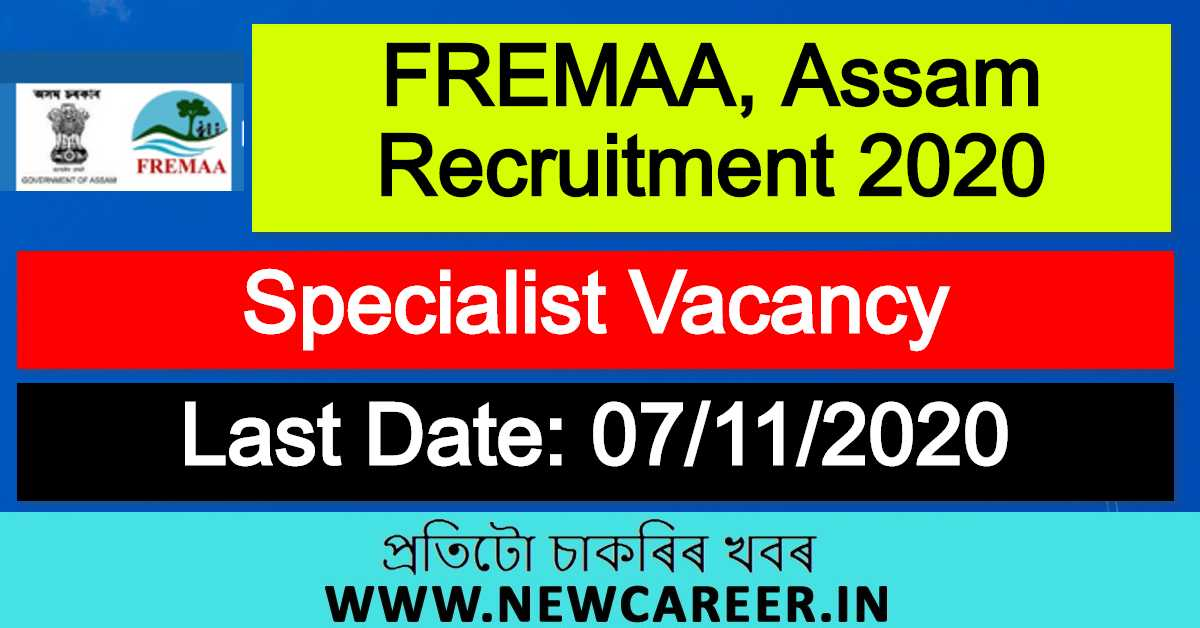 FREMAA, Assam Recruitment 2020 : Apply For Specialist Vacancy