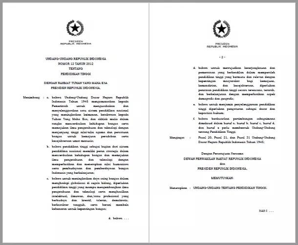 Undang Undang Tentang Pendidikan Tinggi Berkas Edukasi