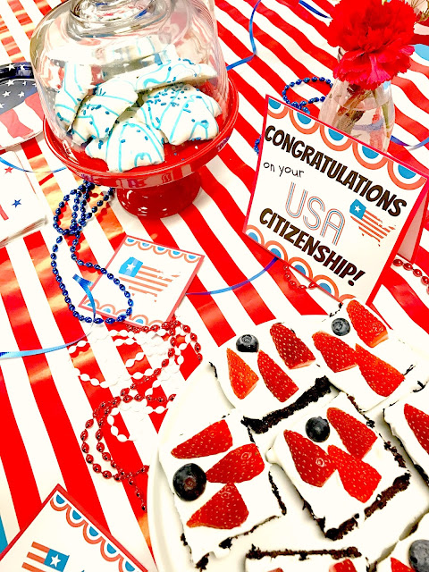 Decorate in red, white and blue.