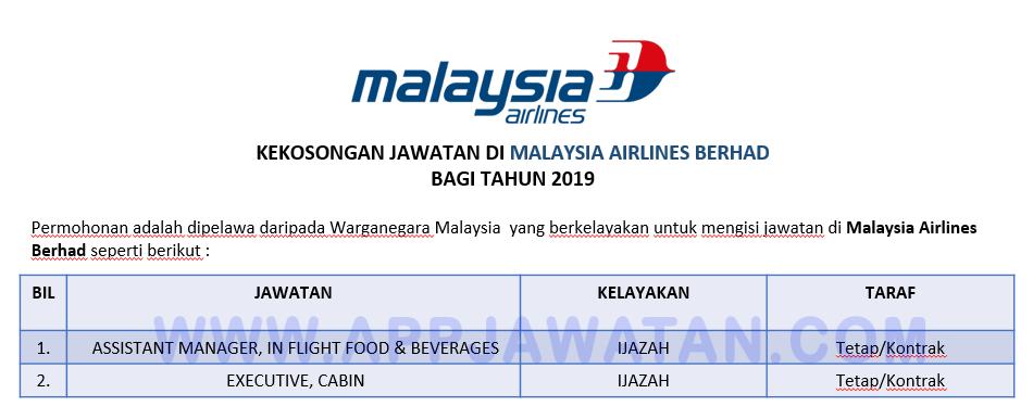 Jawatan Kosong Di Malaysia Airlines Berhad Appjawatan Malaysia