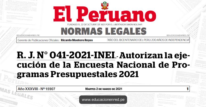 R. J. N° 041-2021-INEI.- Autorizan la ejecución de la Encuesta Nacional de Programas Presupuestales 2021