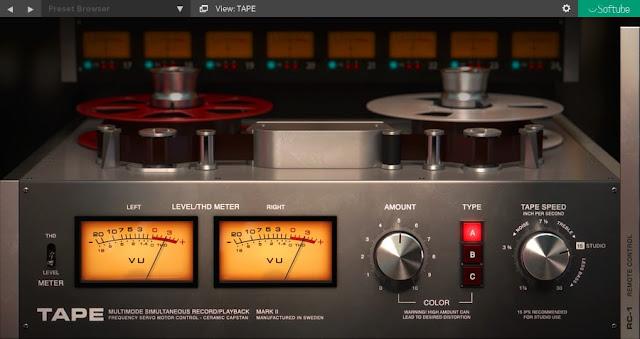 Interface do plugin Softube - Tape 2.5.9