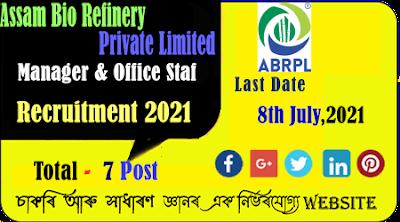 Assam Bio Refinery Recruitment 2021