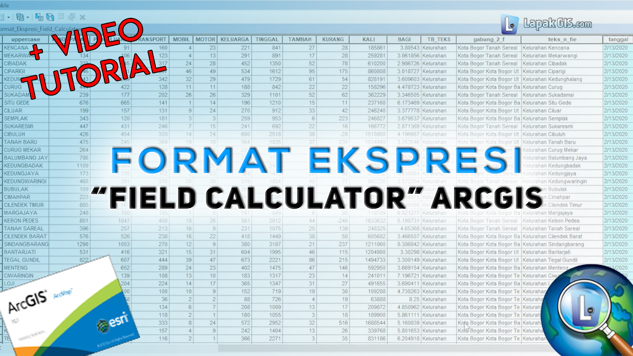 Format Ekspresi Field Calculator pada ArcGIS