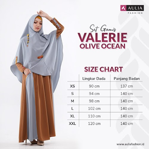 Set Gamis Valerie Olive Ocean By Aulia Fashion