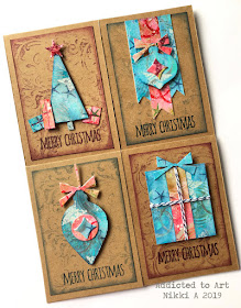Christmas cards with Gelli plate and sticky tape embellishments