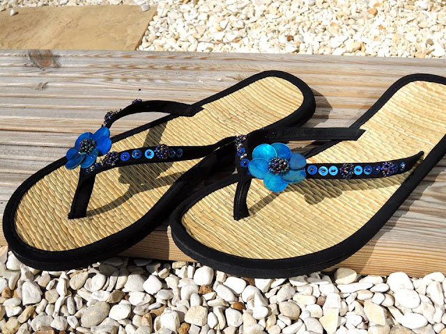 shell beads and sequin flip flops