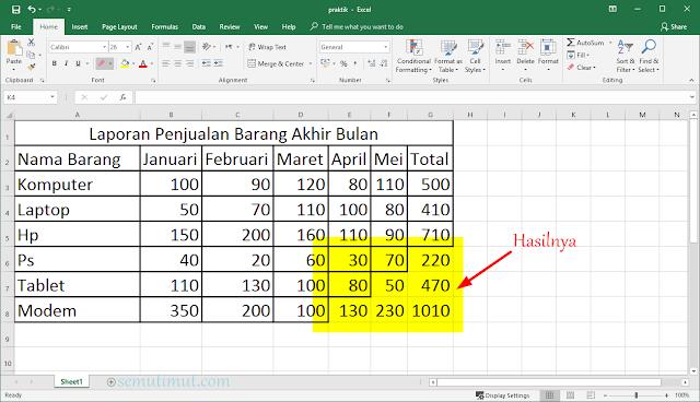 cara membuat tabel excel di laptop