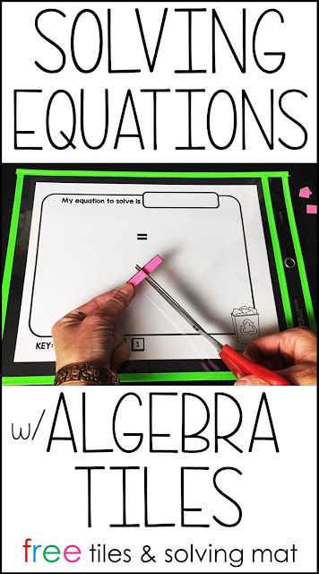 Wondering how to use algebra tiles to solve equations? In this post there are 3 examples for using algebra tiles to solve equations, a free set of paper algebra tiles and a free algebra tiles worksheet solving mat. Algebra tiles are awesome for making algebra visual, hands-on and help introduce students to new difficult topics in a fun way.